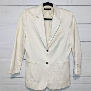 The Row Cream 2 Button Linen Silk Blazer J089